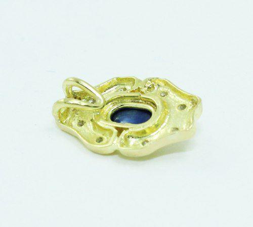 Pingente De Ouro 18k750 Diamante Safira Azul P658