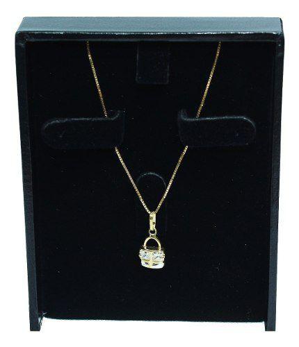 Colar De Ouro 18k750 Bolsa Zircônias C25