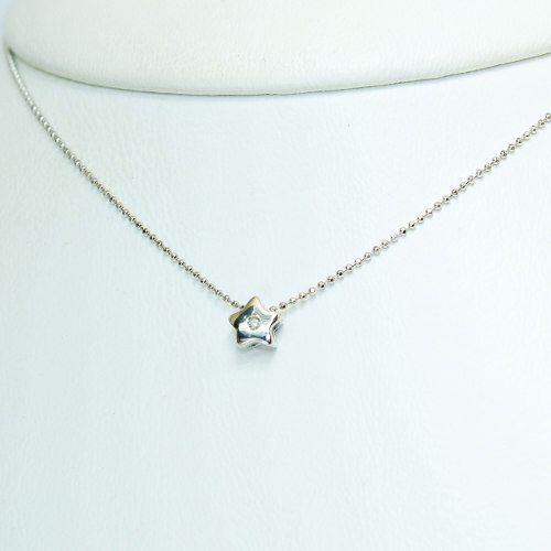 Colar De Ouro Branco 18k750 Estrela Diamante C34