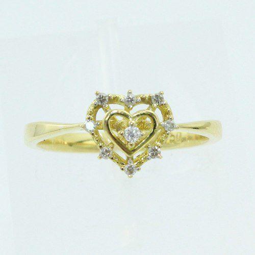 Anel De Ouro 18k750 Coração Diamantes 1052