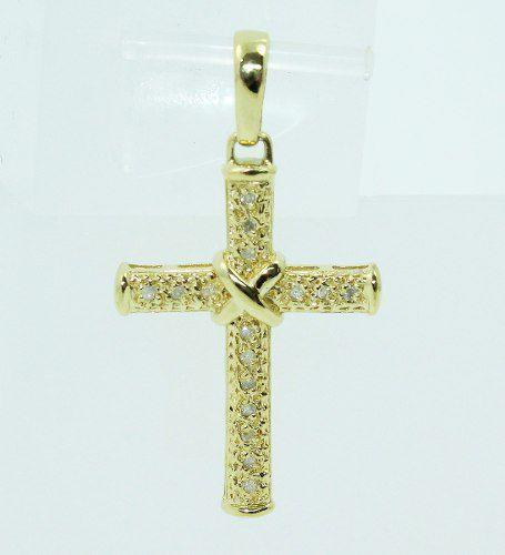 Pingente De Ouro 18k750 Cruz Diamante P656