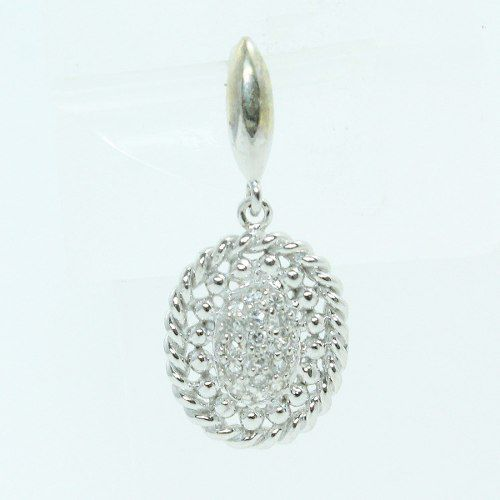 Pingente De Ouro Branco 18k750 Diamantes P86