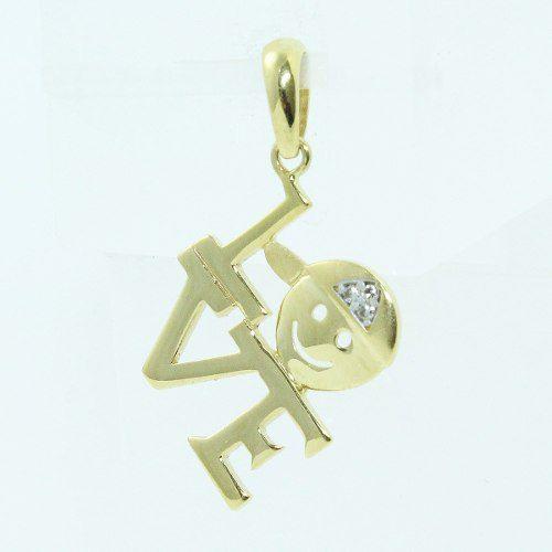 Pingente Ouro 18k 750 Love Diamantes Carinha P213
