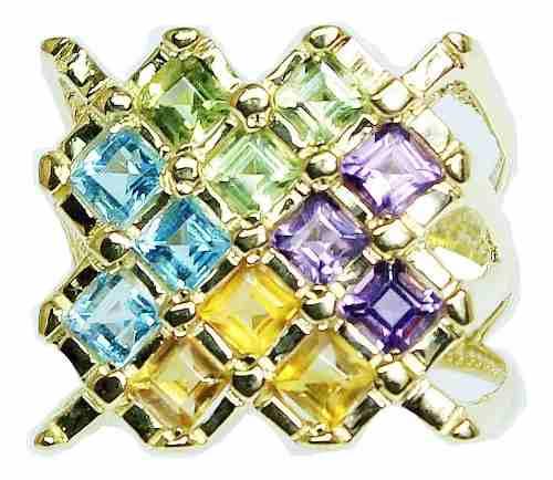 Anel De Ouro 18k750 Pedras 2428