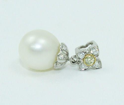Pingente Ouro Branco 18k750 Diamante Pérola P654