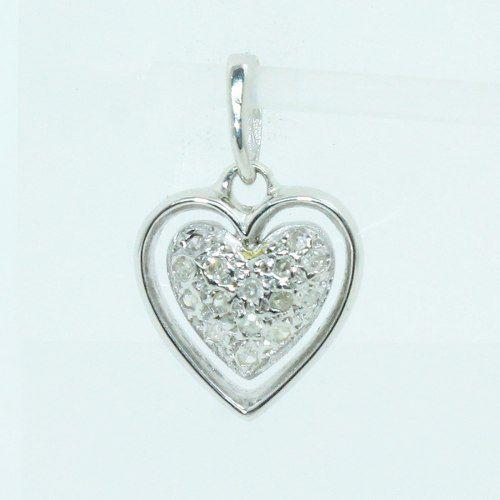 Pingente Ouro Branco 18k750 Coração Diamante P719