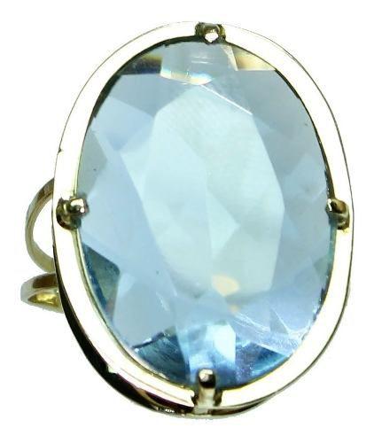 Anel Ouro 18k750 Topázio Azul 12x S/j Ft/gt 2615