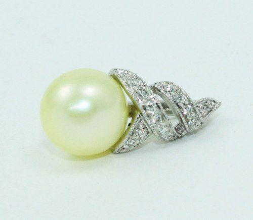 Pingente Ouro Branco 18k750 Diamante Pérola P655