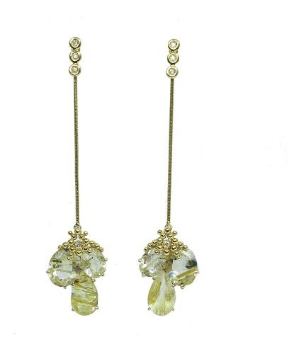 Brincos de Ouro 18k750 Diamantes Cristal B323