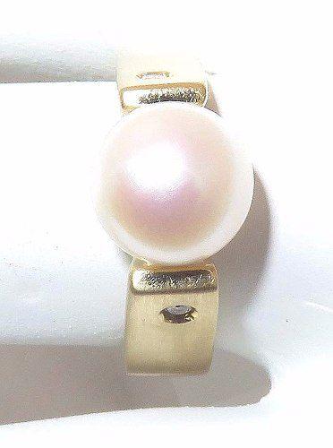 Anel De Ouro 18k750 Pérola E Diamantes 1155