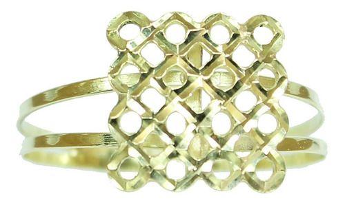 Anel De Ouro 18k750 Quadrado 12x S/j Ft/gt 2666