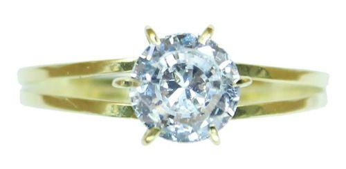 Anel Solitário Ouro 18k Pedra Zircônia Debutante Noivado S1