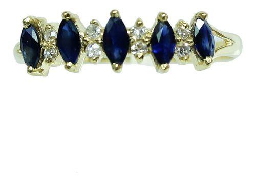 Anel Ouro 18k Diamante Safira 12x S/j Ft/gt 2662