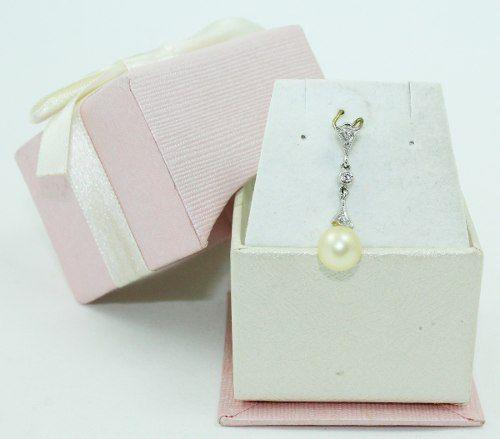 Pingente Ouro Branco 18k750 Diamante Pérola P652