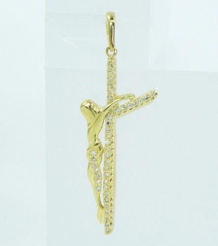 Pingente De Ouro 18k750 Cruz Cristo Diamante P651