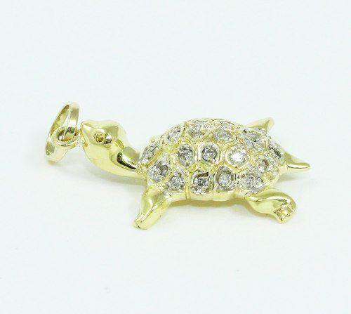 Pingente Ouro 18k750 Tartaruga Diamante P648