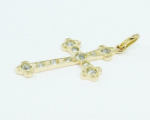Pingente De Ouro 18k750 Cruz Diamante P647