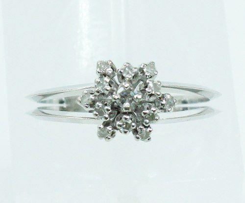 Anel De Ouro Branco 18k750 Diamantes 2138