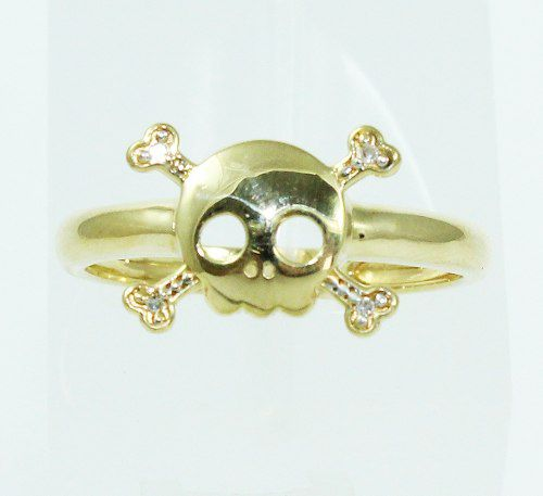 Anel De Ouro 18k750 Diamantes Caveira 2127