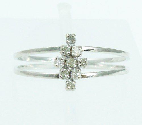 Anel De Ouro Branco 18k750 Diamantes 2094