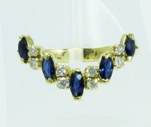 Anel De Ouro 18k750 Diamantes Safira 2064