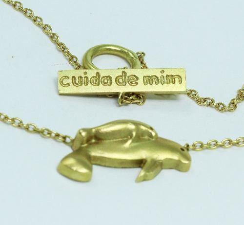 Colar De Ouro 18k750 Peixe Boi C214