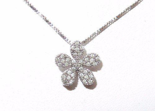 Colar Ouro Branco 750 Diamantes Flor Vivara C134