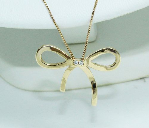 Colar De Ouro 18k750 Laço Diamantes C67