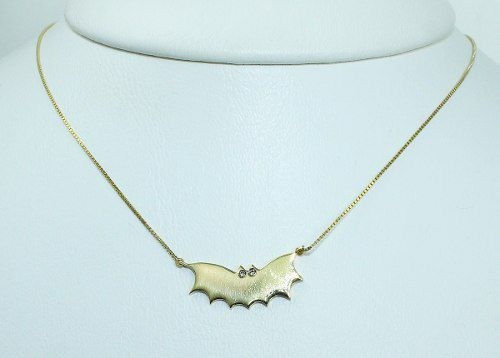 Colar De Ouro 18k750 Morcego Diamantes C53
