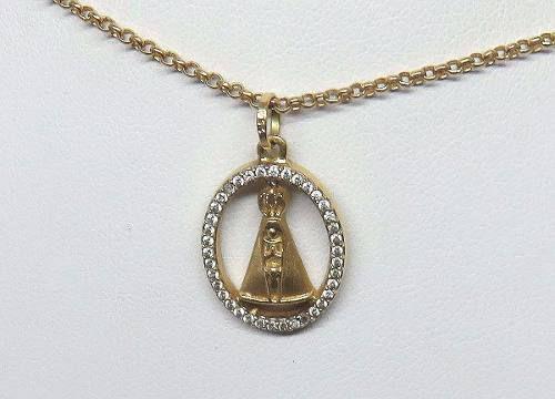 Colar De Ouro 18k750 Santa Zircônias C74