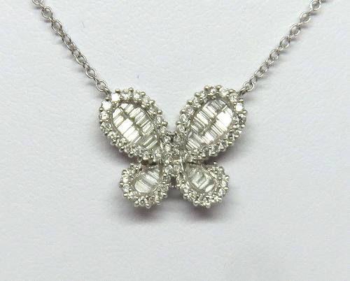Colar Ouro Branco 18k750 Diamantes Borboleta C107