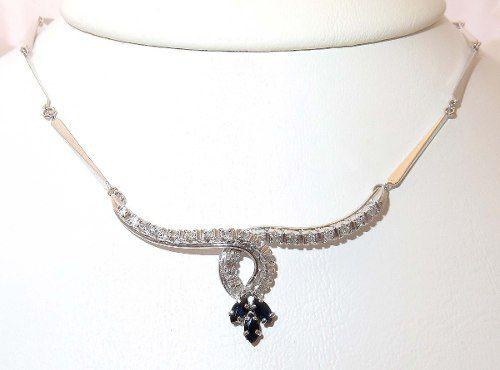 Colar De Ouro 18k750 Diamantes Safiras C100
