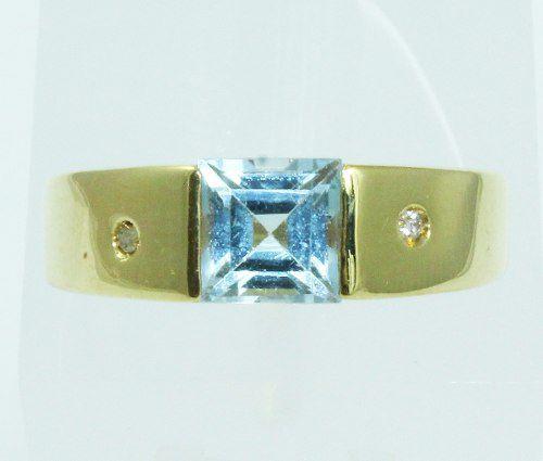 Anel De Ouro 18k750 Diamantes Topázio Azul 2059