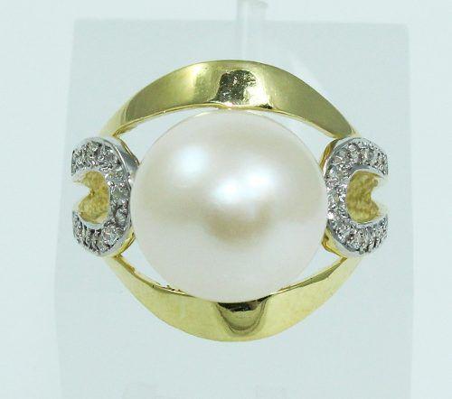 Anel De Ouro 18k750 Diamantes Pérola 2039