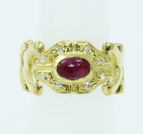 Anel De Ouro 18k750 Diamantes Rubis 2213