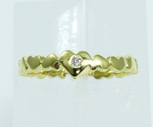 Anel De Ouro 18k750 Diamante Coração 2033