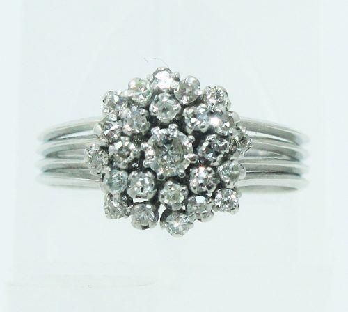 Anel De Ouro Branco 18k750 Diamantes 2211