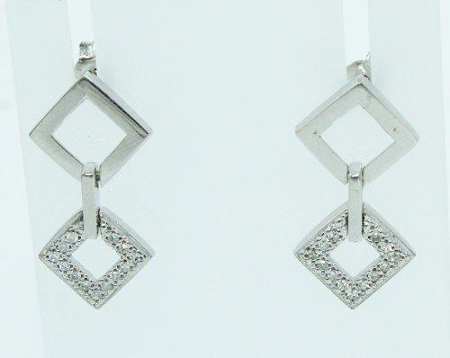 Brincos De Ouro Branco 18k750 Diamantes B731