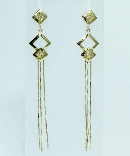 Brincos De Ouro 18k750 Diamantes B704