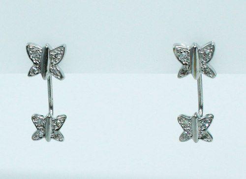 Brincos Ouro Branco 18k Borboletas Diamantes B655