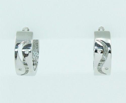 Brincos De Ouro Branco 18k750 Diamantes B728