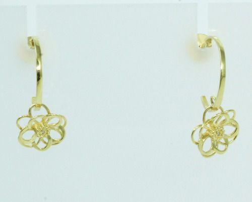 Brincos De Ouro 18k750 Diamantes Flor B761