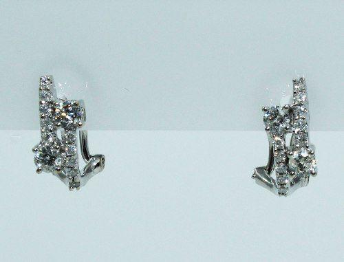 Brincos De Ouro Branco 18k750 Diamantes B670