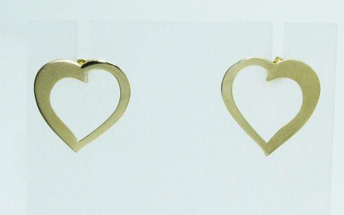 Brincos De Ouro 18k750 Coração B602