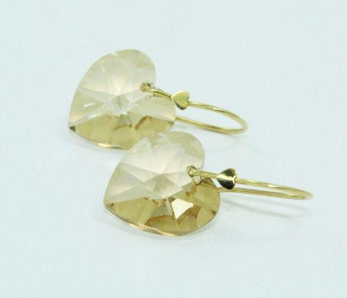 Brincos De Ouro 18k750 Coração Cristal B827