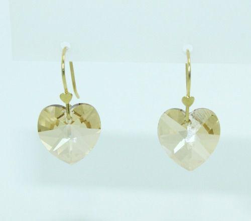 Brincos De Ouro 18k750 Coração Cristal B999