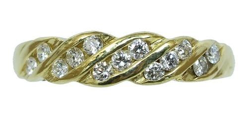 Anel De Ouro 18k750 Diamantes 12x S/j Ft/gt 2689