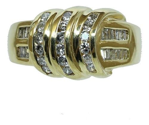 Anel De Ouro 18k750 Diamantes 12x S/j Ft/gt 2694