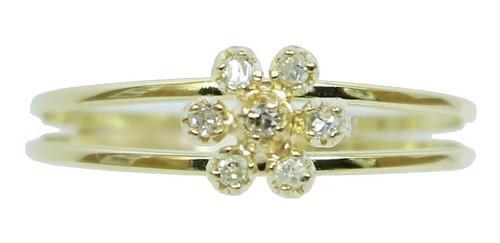 Anel De Ouro 18k750 Diamantes 12x S/j Ft/gt 2702