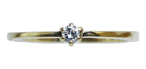 Anel De Ouro 18k 750 Diamante 2898